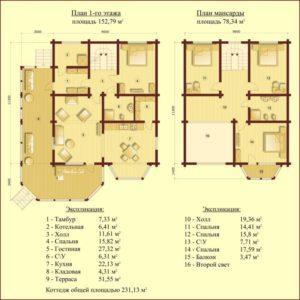 Проект брусового дома. Продажа домов в Новой Москве